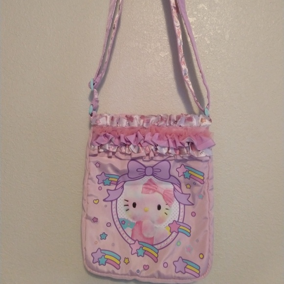 364efa4df Bags   Hello Kitty Pink Purple Purse Side Bag Frills   Poshmark